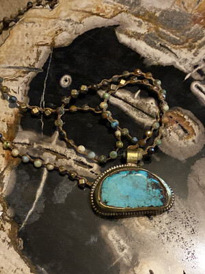 Turquoise Repousse Pendant with Turquoise & Metal Beads Necklace