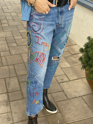 Custom Embroidered Jeans 32
