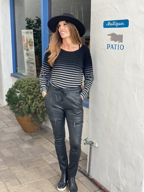 Eden Coated Leather Pants, O/S