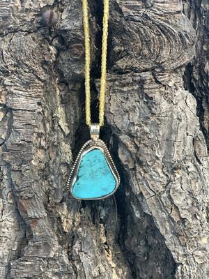 Turquoise Pendant with Yellow Zircon