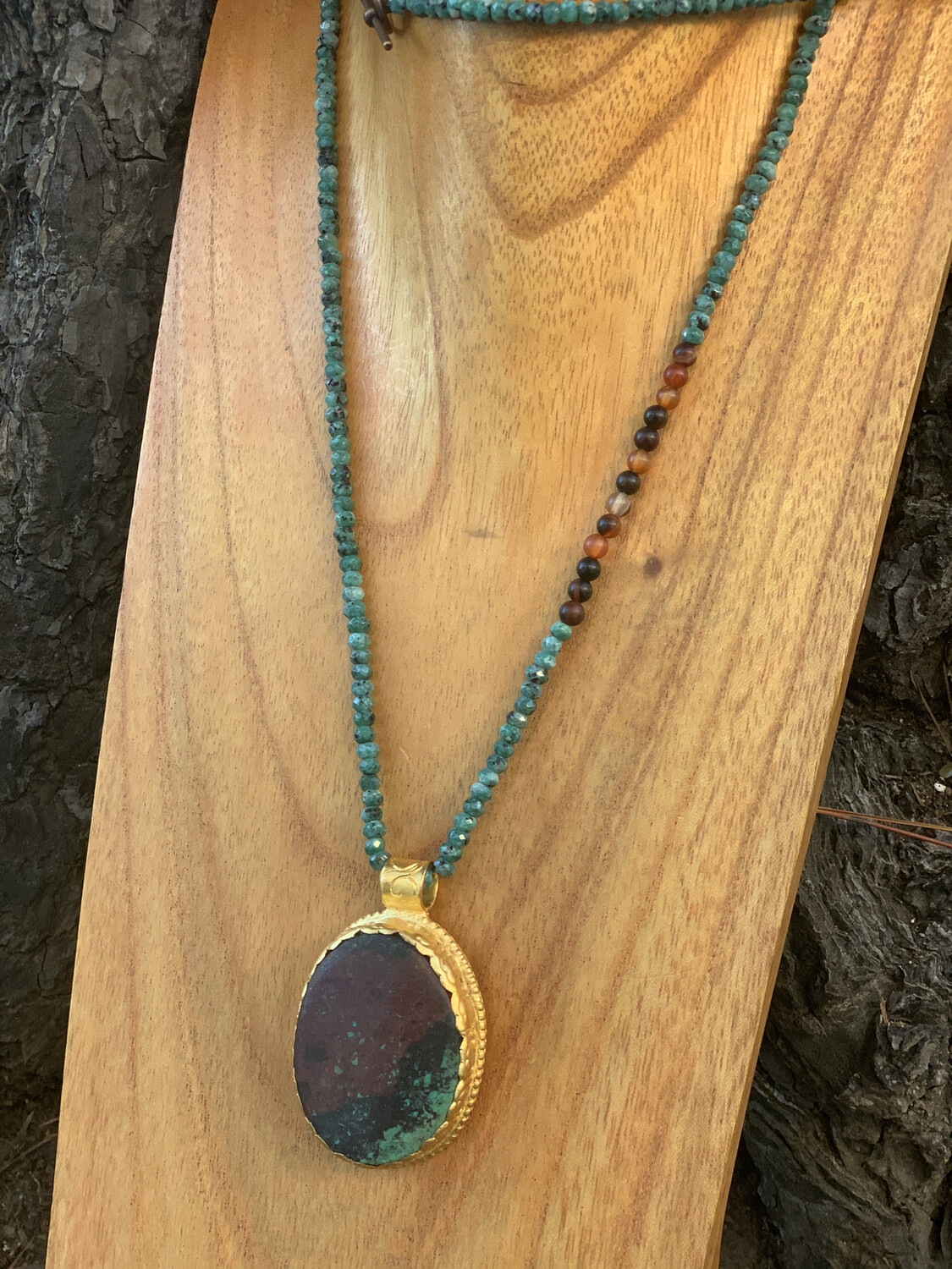 Chrysocolla pendant with Jade and Agate accents