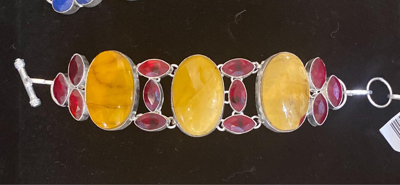 Yellow Mookaite w/Garnet Gemstone Sterling Silver Bracelet 925