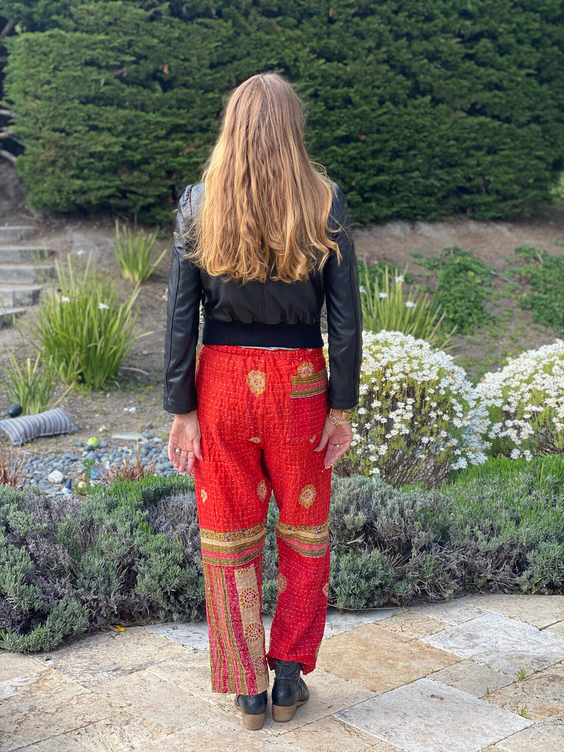 """ESIAAM """"The Lucille"""" Kantha Recy Sari Quilt Pants * Small Red Pink Multi"""