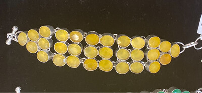 Yellow Sapphire Sterling Silver Toggle Bracelet .925