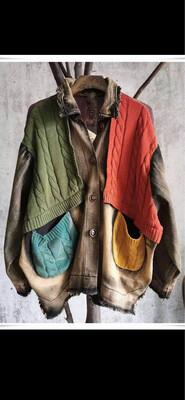 GLB Washed Denim Jacket w/Sweater Patches O/S