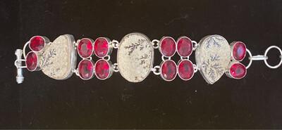 Psilomelane Dendrite & Ruby Gemstone Sterling Silver Bracelet .925