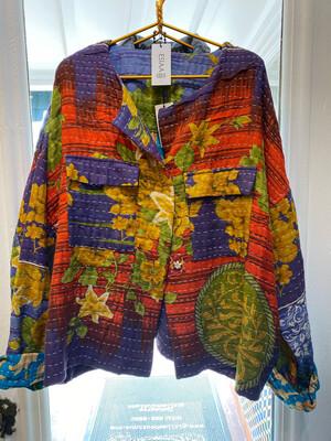 "ESIAAM ""The Emma"" Kantha Sari Recycled Quilt Jacket XL"