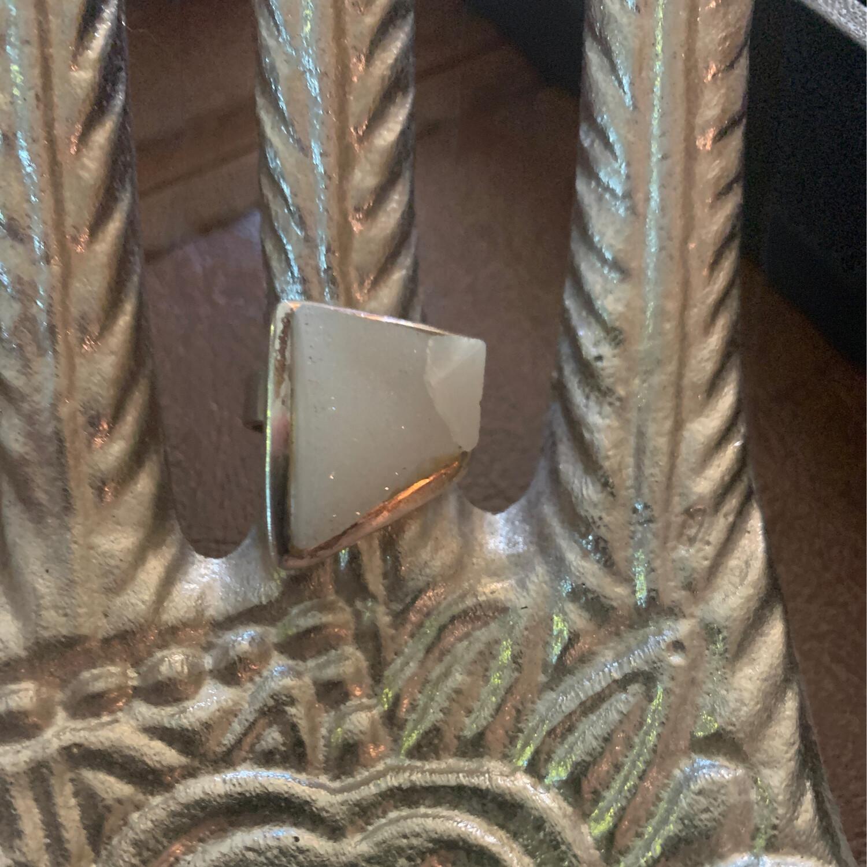Sterling Silver Druzy Crystal Ring , 7
