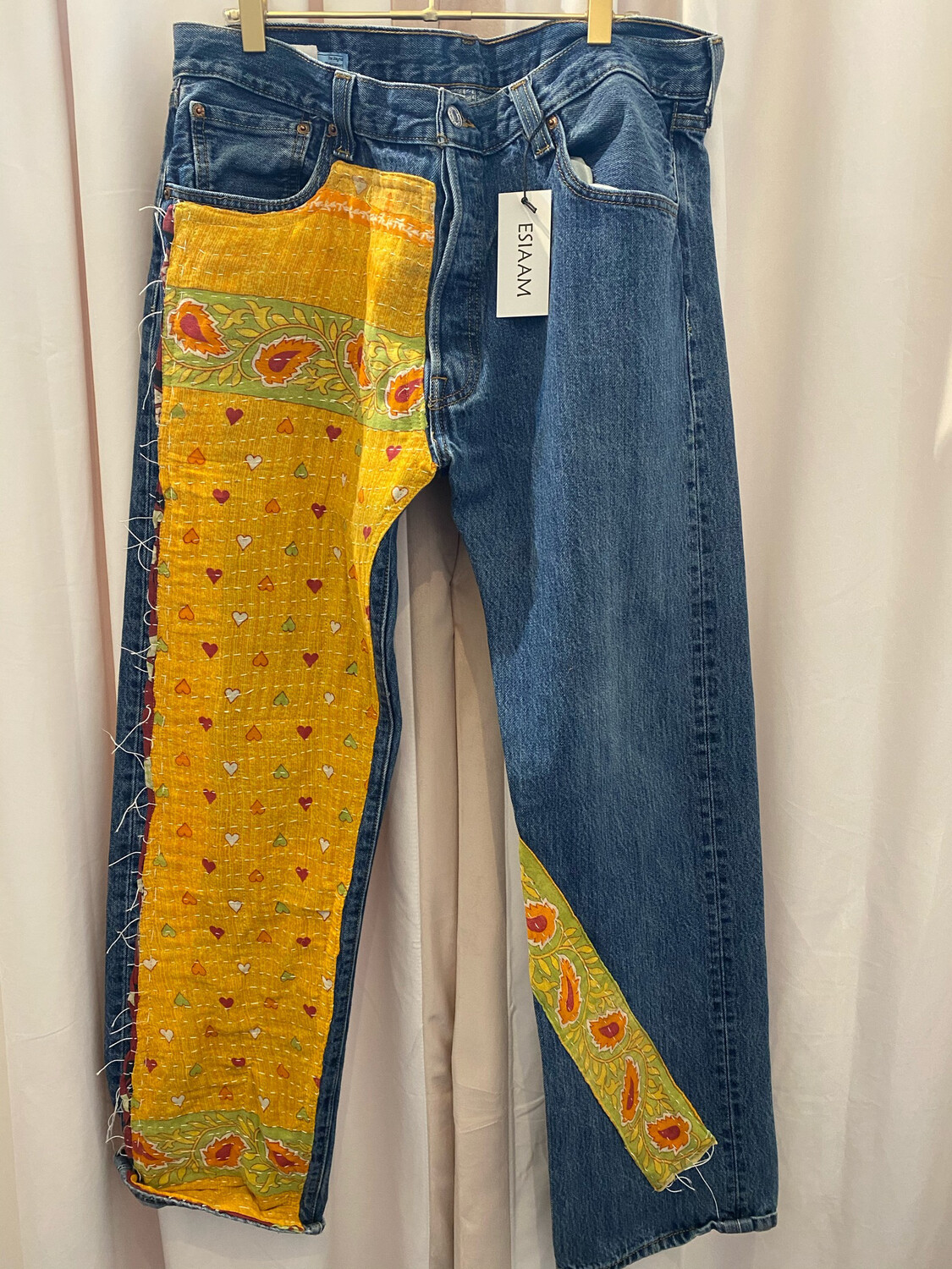 """ESIAAM """"The Nancy"""" Upcycled Levi Kantha Quilt Jeans 501 36x32"""