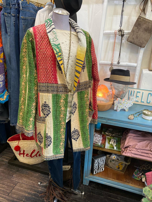 "ESIAAM ""The Aubrey"" (1) Kantha Sari Recycled Quilt Jacket, Large"