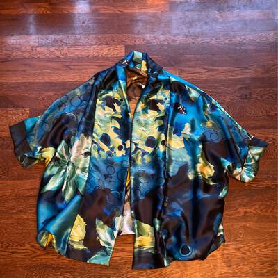 "ESIAAM Silk ""The Sophie"" Flower Swirl Large Silk Kimono Jacket Reversible"