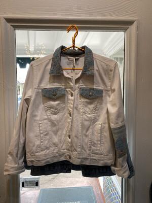 ESIAAM White Jean Jacket Kantha Sari Quilted