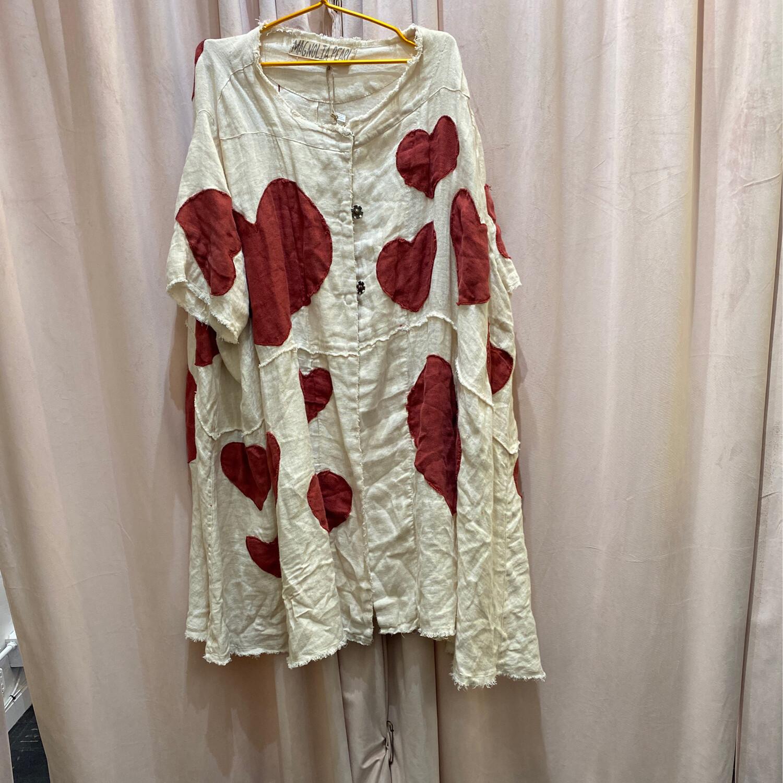 Magnolia Pearl European Linen Hear Appliqué Kimi Coat With Raw Edges