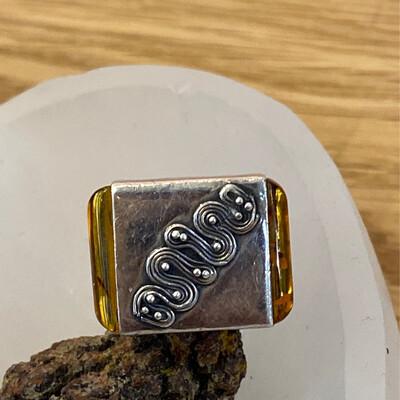 Sterling Silver Amber Snake Ring, 5.5