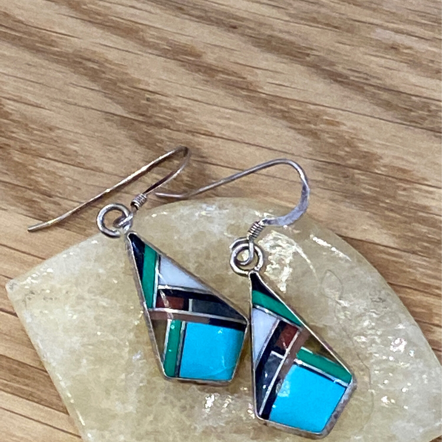 Turquoise & Gemstone INLAID Earrings, Sterling Silver, SW