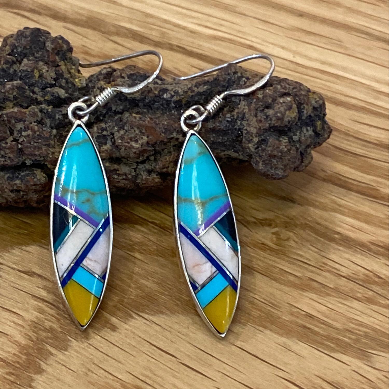 Sterling Silver Gemstone Inlay Earrings, Southwest