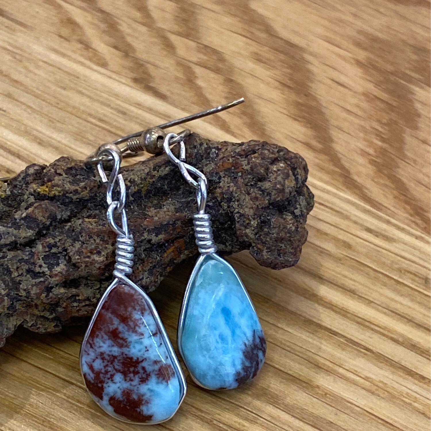 Larimar Earrings from the Dominican Republic
