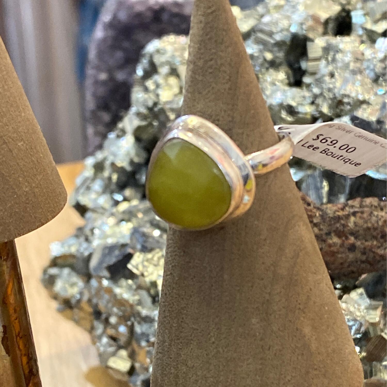 Sterling Silver Genuine Green Stone Teardrop Ring