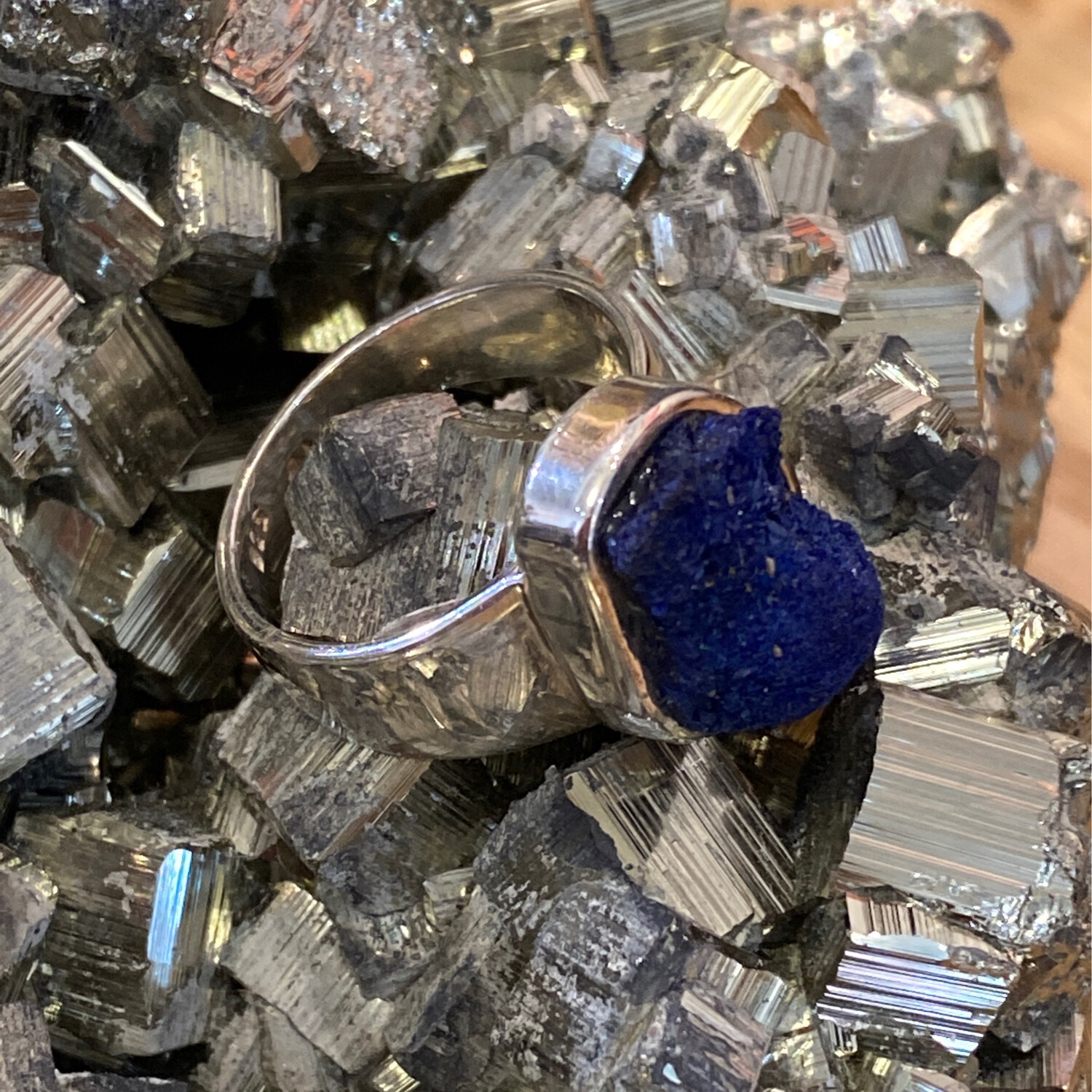 VG Sterling Silver Azurite Ring, Size 8