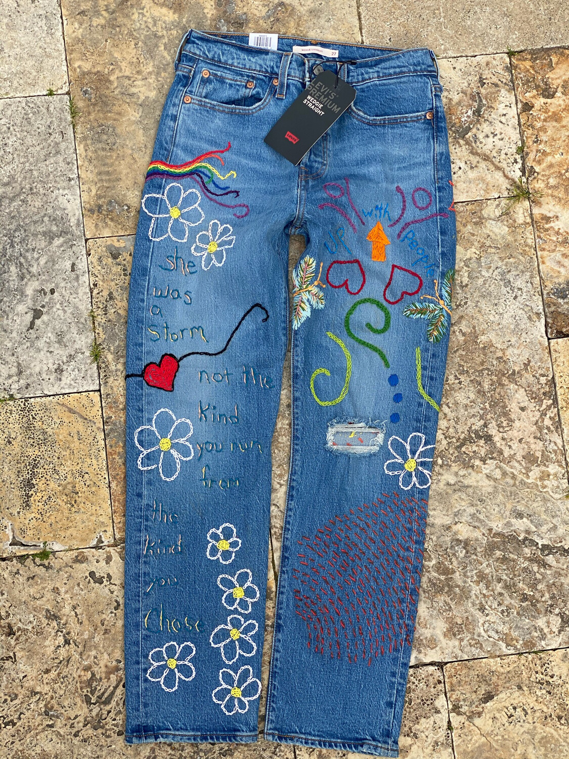 Levi's Custom Embroidered Jeans 27