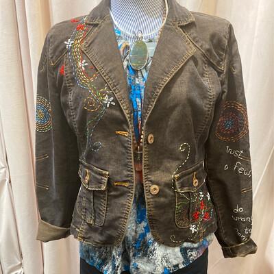 ESIAAM Corduroy Embroidered Jacket Blazer, Brown, M