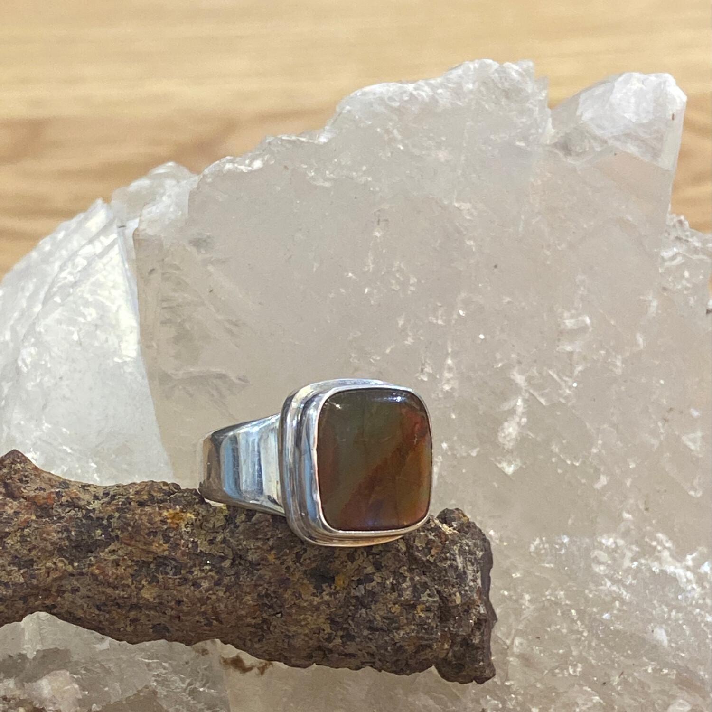 KI Ammolite 925 Ring, size 7.5