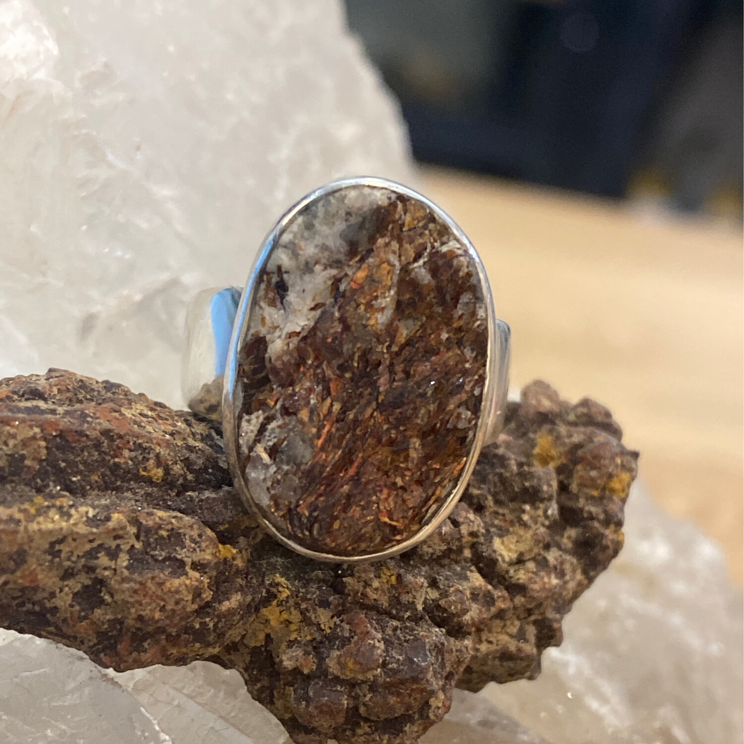 Sterling Silk We Geode Ring, size 7 3/4