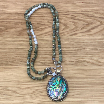Abalone Repousse Pearl Gemstone Silver Toggle Necklace