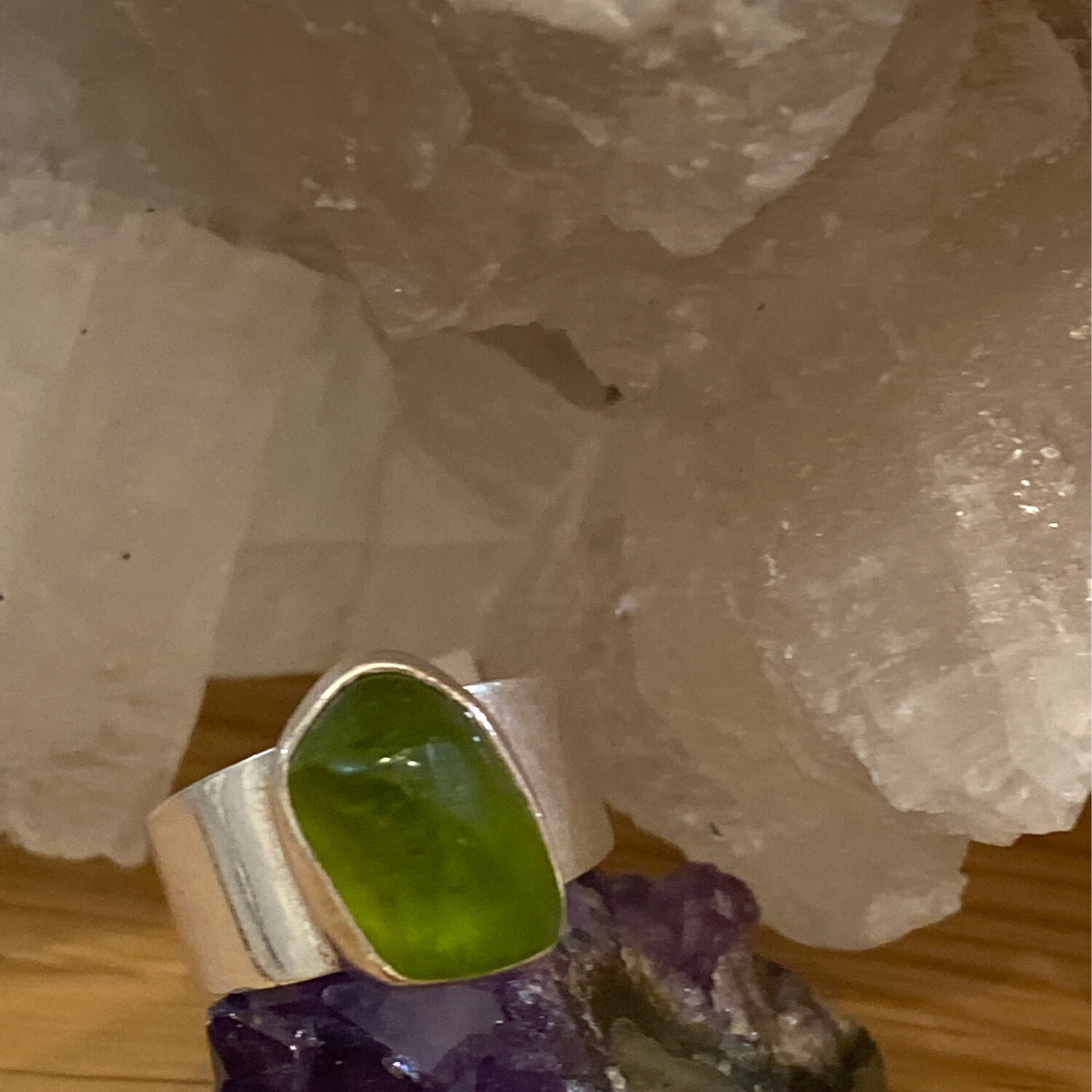 Sterling Silver Peridot Ring, Size 8