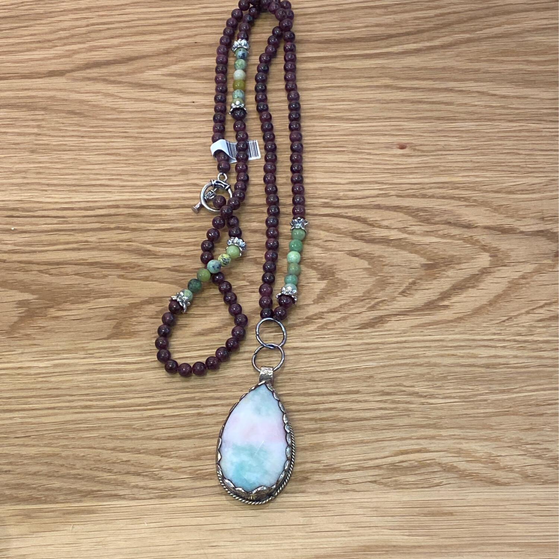 Candy Jade Pendant -Garnet