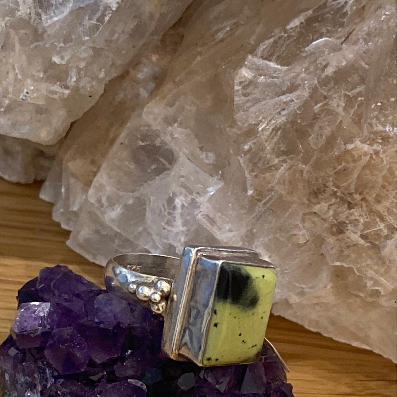Rectangular Green Stone Sterling Silver Ring