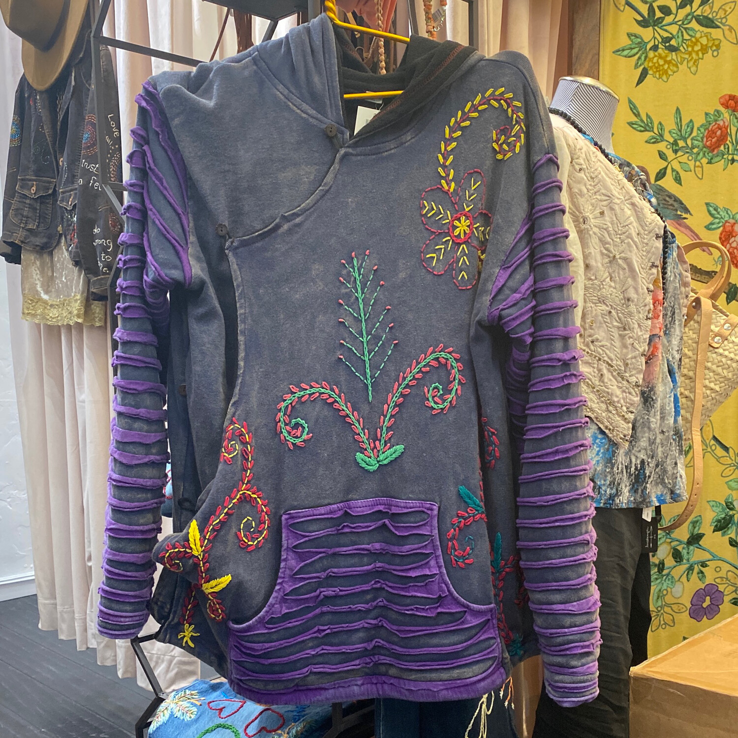NEP Hooded Embroidered Sweatshirt Side Button XL
