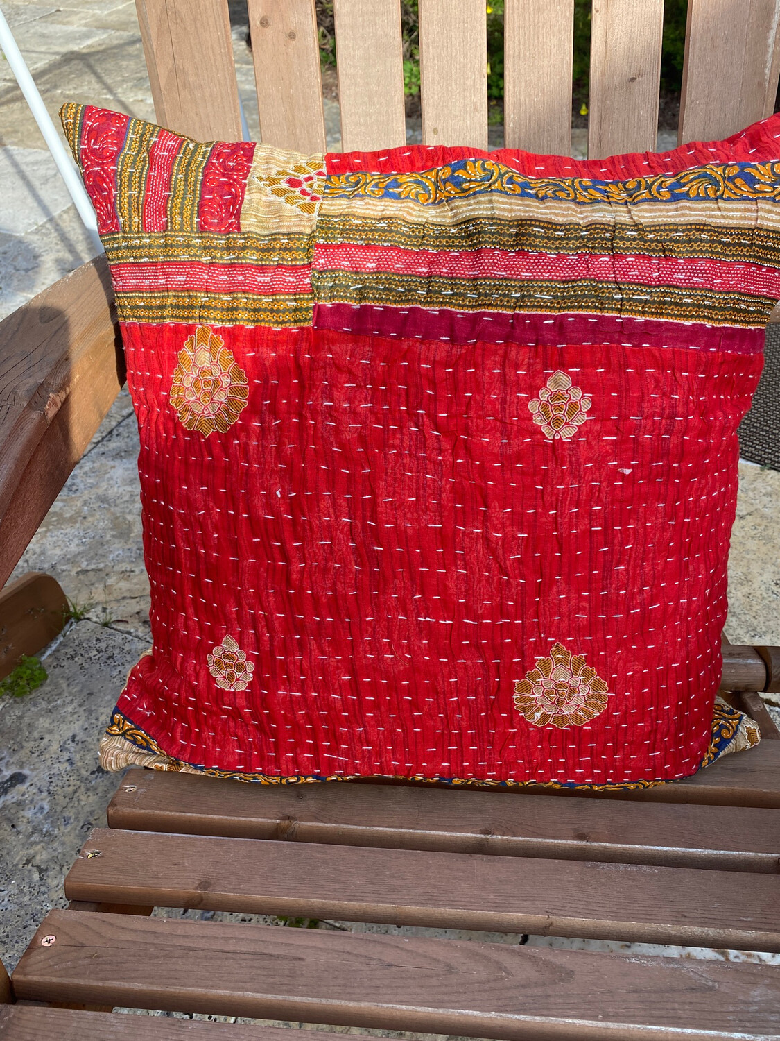 ESIAAM Sari Upcycled Quilted Pillow Sham & Down Feather Pillow (1) Small