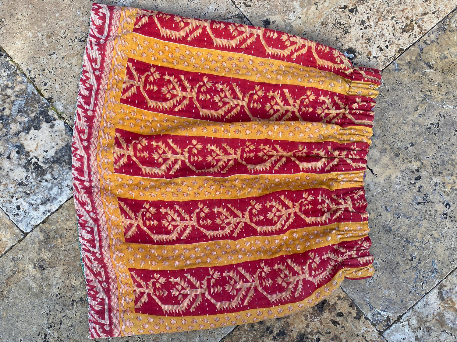 """ESIAAM """"The Amy"""" Kantha Reversible Skirt Red-Yellow/Green L #2"""