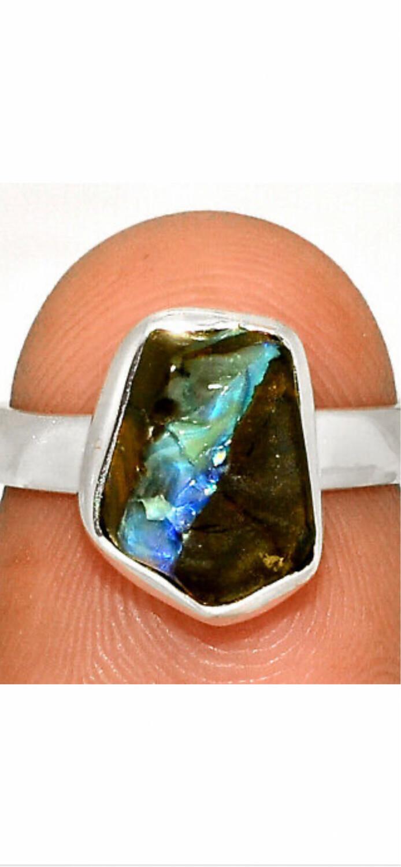 Boulder Opal Sterling Silver Ring, 6