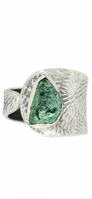 Aquamarine Sterling Silver Ring, 7.5