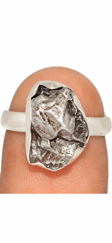 Meteorite Sterling Silver Ring, 6