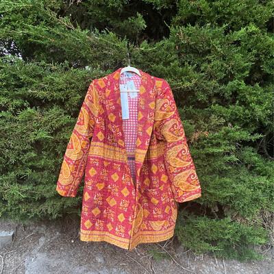"ESIAAM ""The Aubrey"" (3) Kantha Sari Recycled Quilt Jacket, Large"
