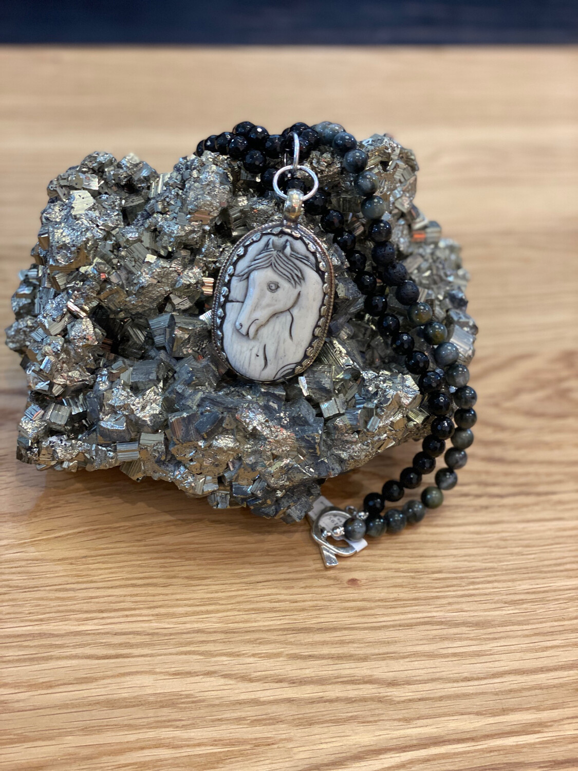 Horse Repousse Onyx Beaded Necklace