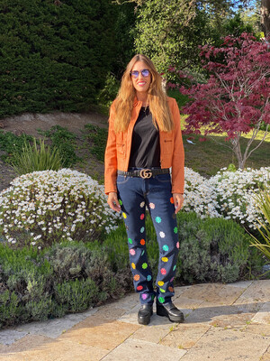 """ESIAAM """"The Nancy"""" Embroidered Flower Jeans 31 x 34"""