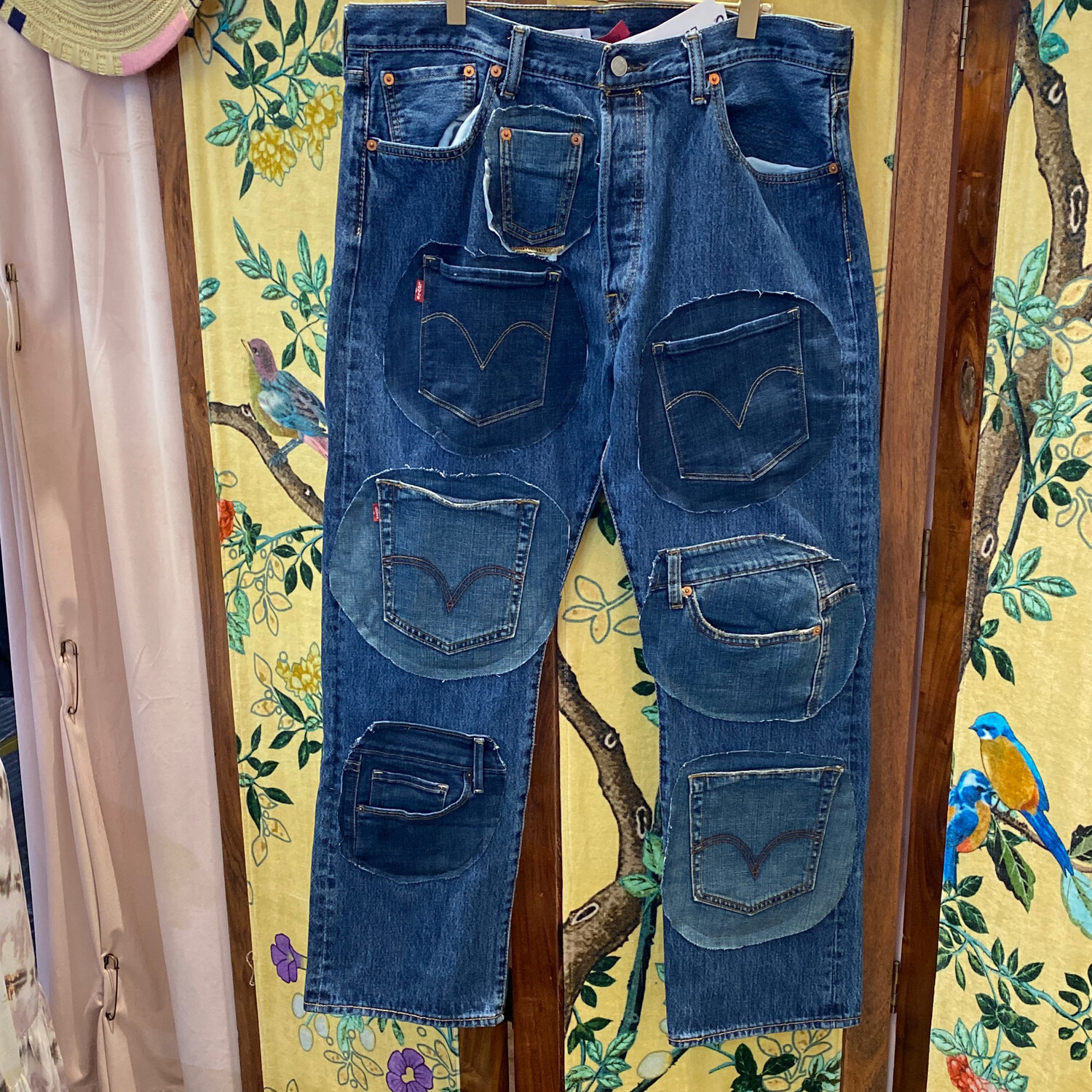 """ESIAAM """"The Nancy"""" Upcycled Levi's Patchwork Jeans 38 x 30"""