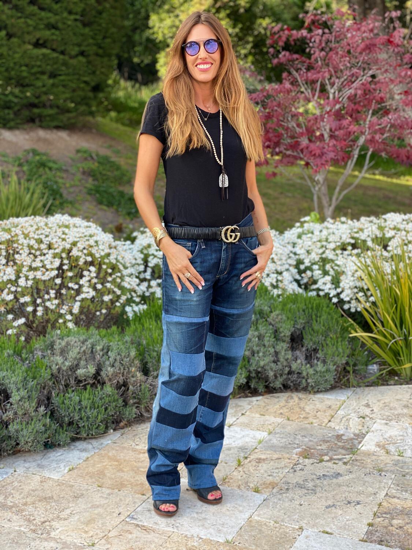 "ESIAAM ""The Nancy"" Joe's & Levi's Banded Upcycled Denim Jeans"