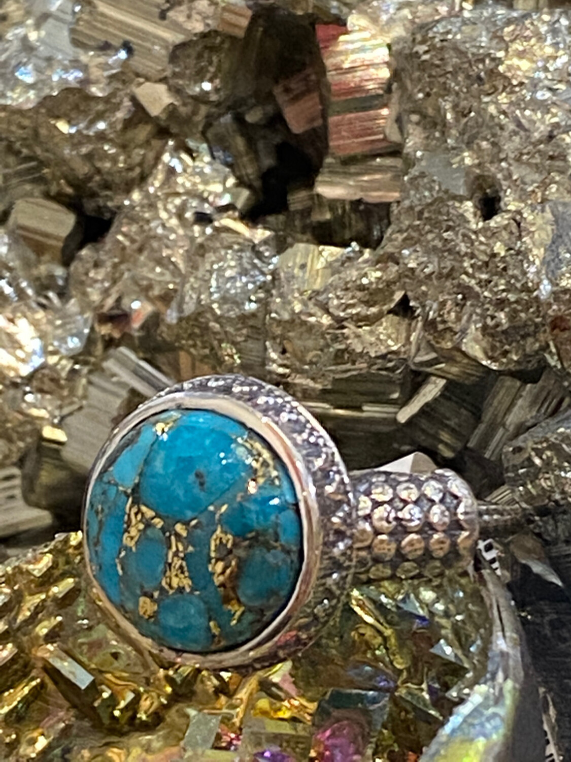 Turquoise Copper Sterling Silver Ring, 8