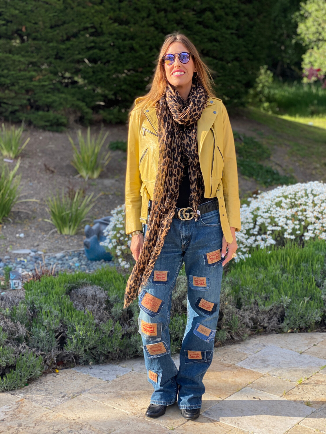 """ESIAAM """"The Nancy"""" 34 x 36 Levi Leather Patch Jeans"""