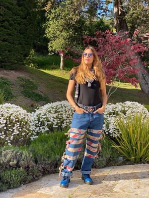 "ESIAAM ""The Nancy"" Levi's 34 x 32 Kantha Tie Sari Denim Jeans Upcycled"