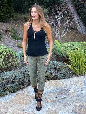 Venti6 Faux Suede Solid Crinkle Jogger