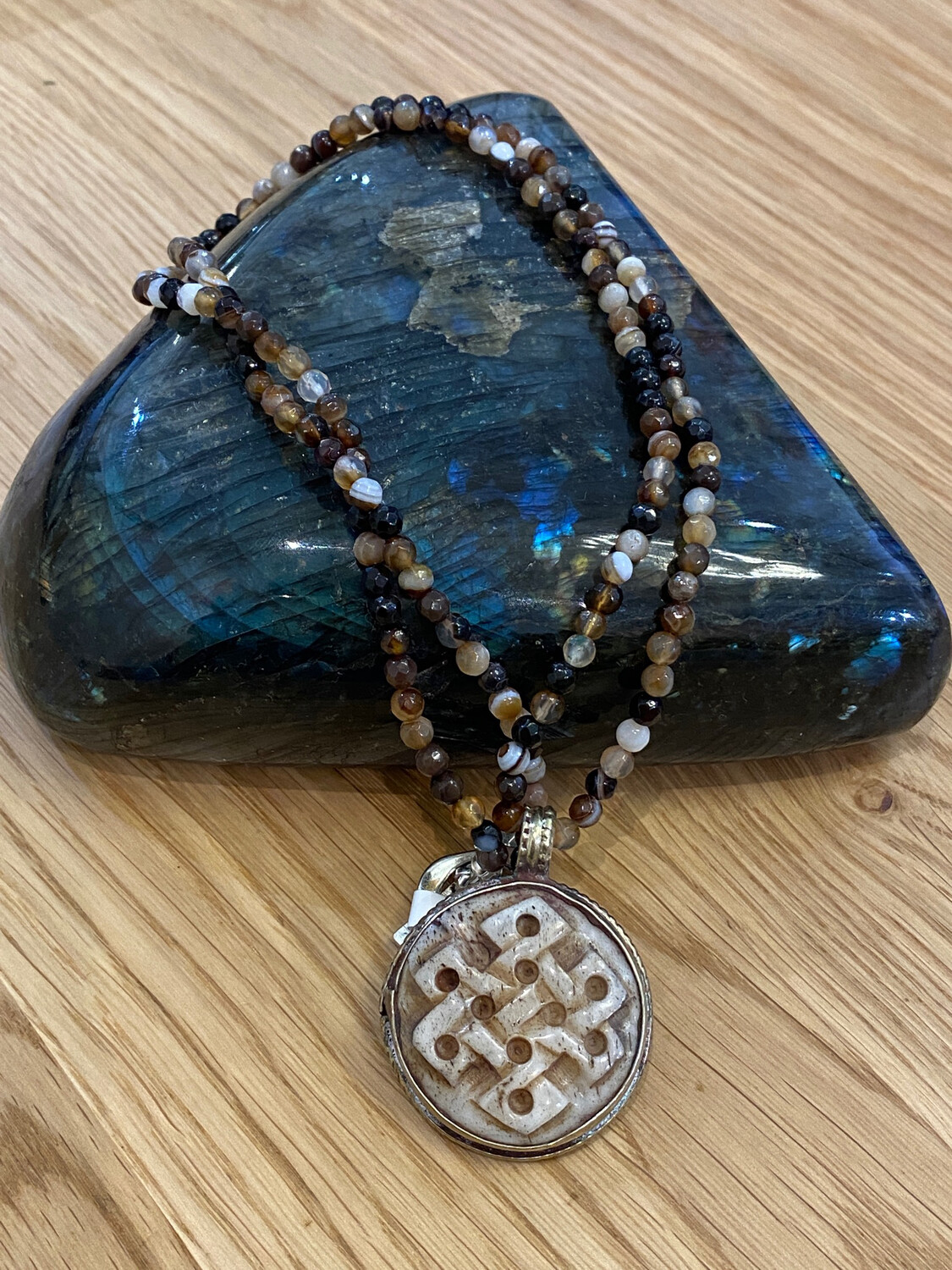 Repousse Gemstone Necklace