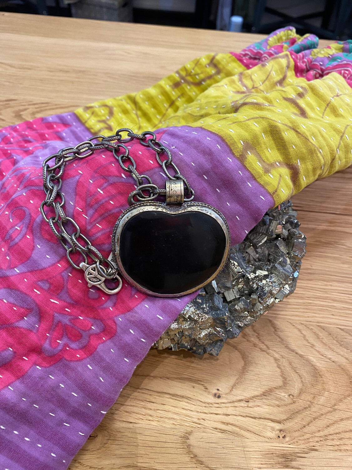 Black Repousse Pendant on Chunky Chain