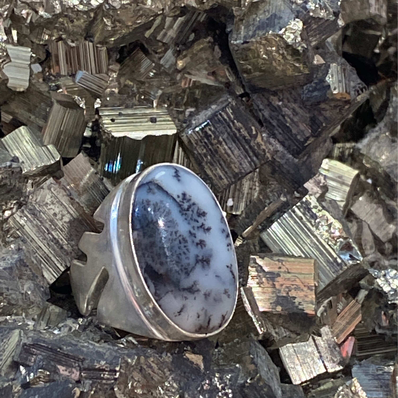 Merlinite Dendritic Opal Indigo gabbro Ring 925 Sterling Silver 6.5