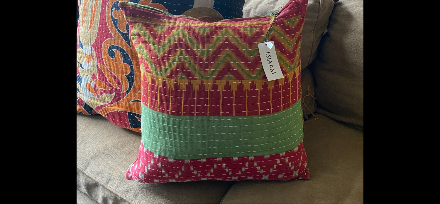 ESIAAM Sari Upcycled Quilted Pillow Sham & Down Feather Pillow (2) Small